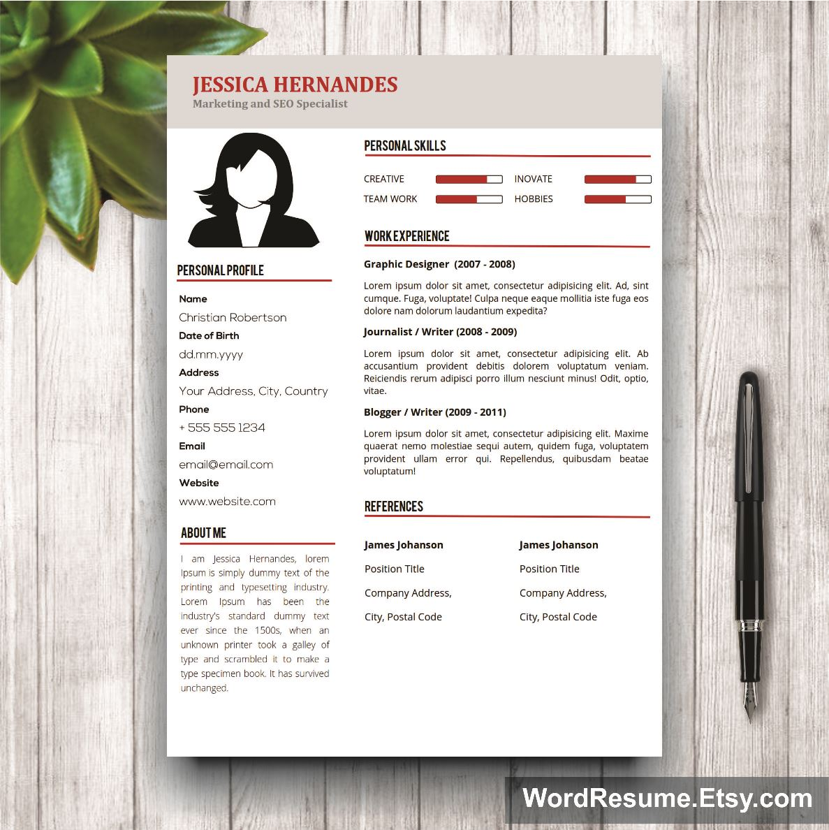 Download This File For A Professionally Designed And Easy To Customize 2  PAGE Resume And Matching Cover Letter (you Receive 3 Pages!)