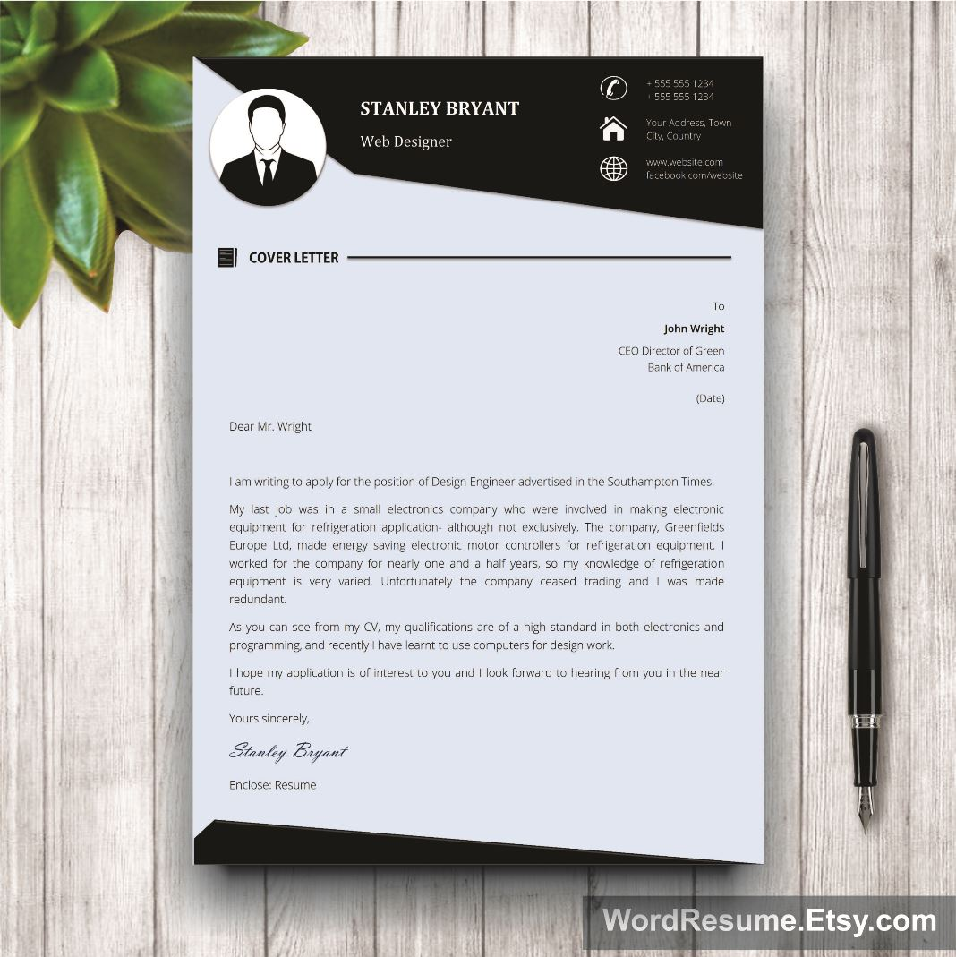 Modern Resume Template With Photo Stanley Bryant Creative