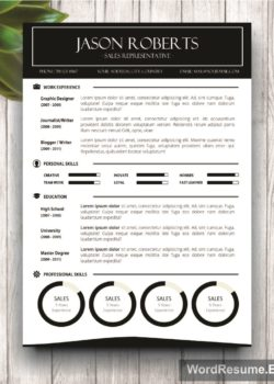 "Black and White Resume Template – ""Jason Roberts"""