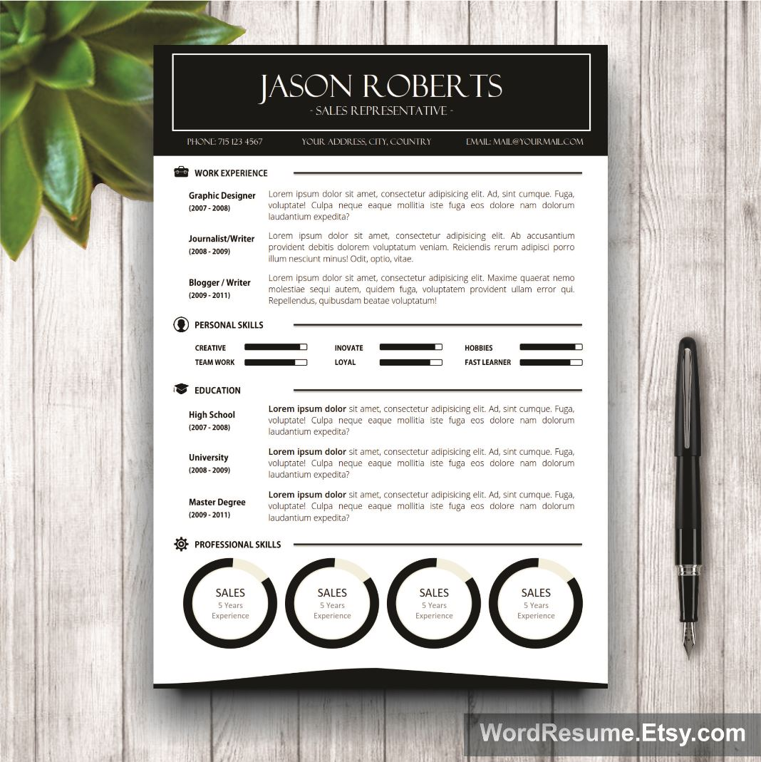 Black And White Resume Template With Photo  Cover Letter  Jason
