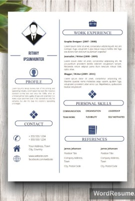 Simple Resume Template WIth Photo + Cover Letter