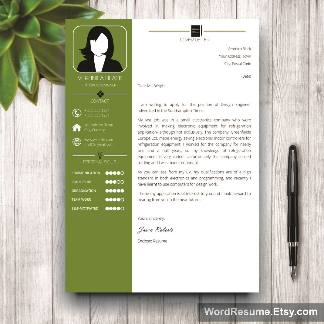 Resume Template With Photo  Cover Letter  Veronica Black