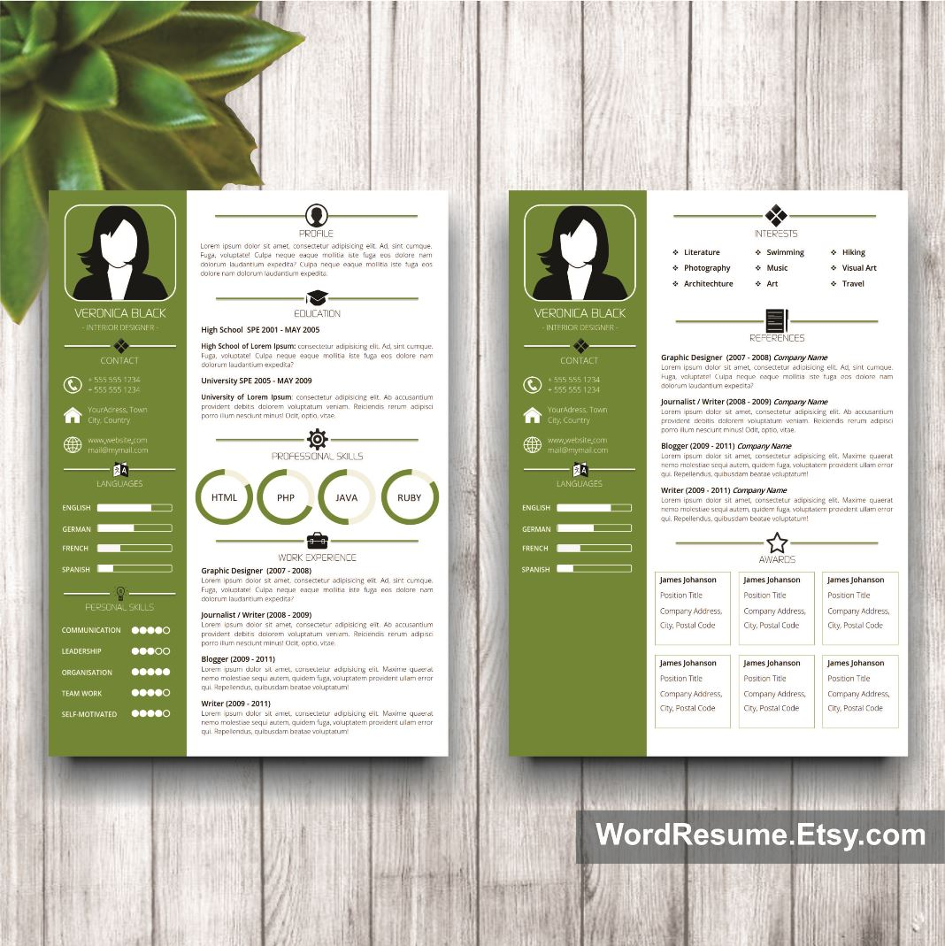Resume Format Page 2: Resume Template With Photo + Cover Letter