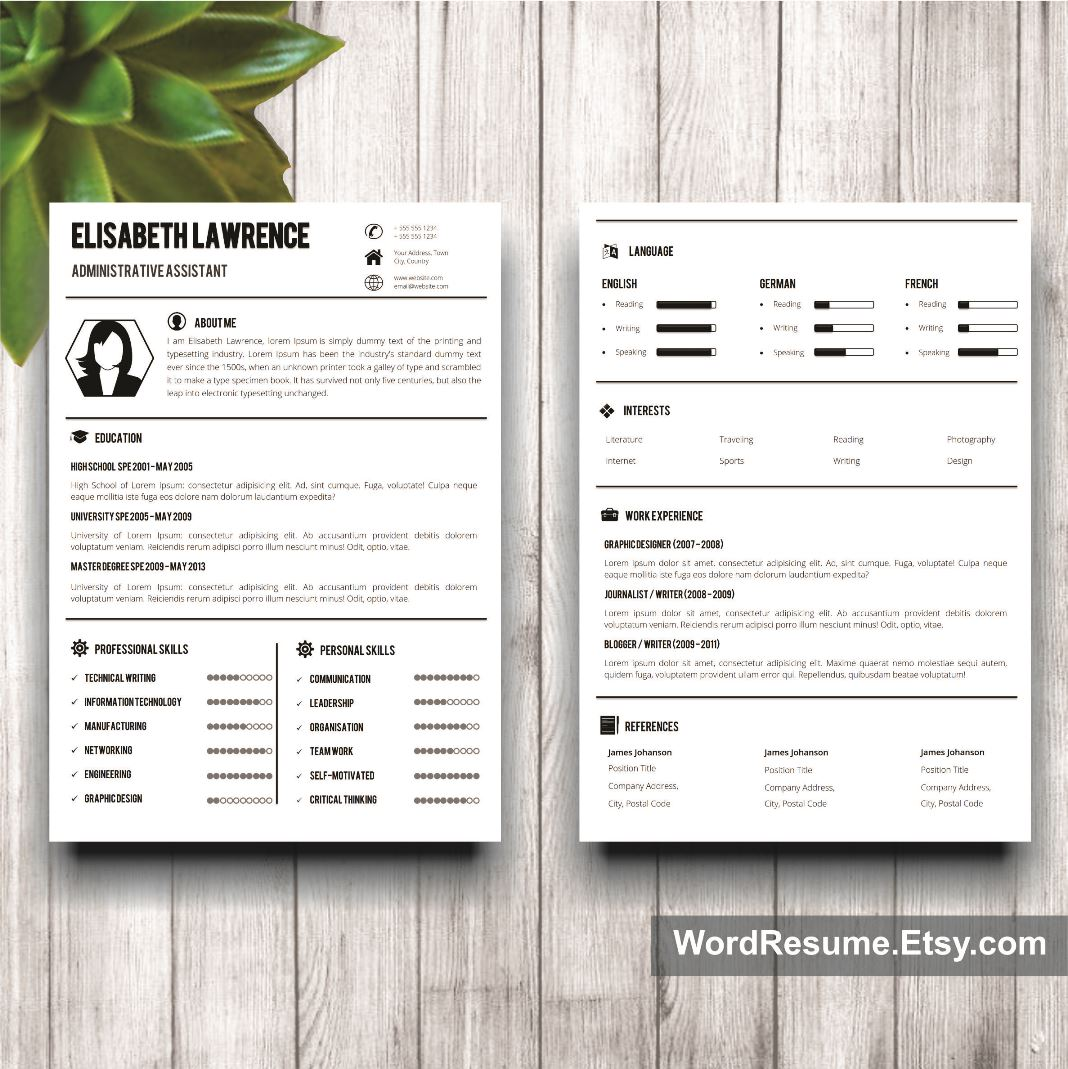 Word Resume Template With Photo + Cover Letter - \