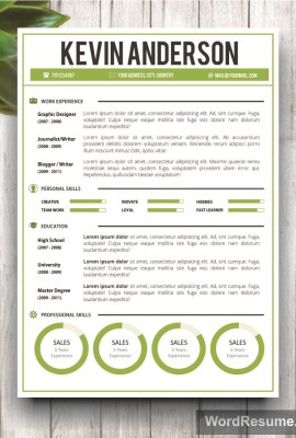 "Word Resume Template + Cover Letter – ""Kevin Anderson"""