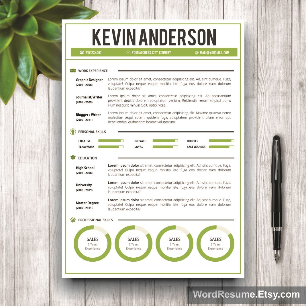 Word Resume Template Cover Letter Kevin Anderson Creative - Buy resume templates