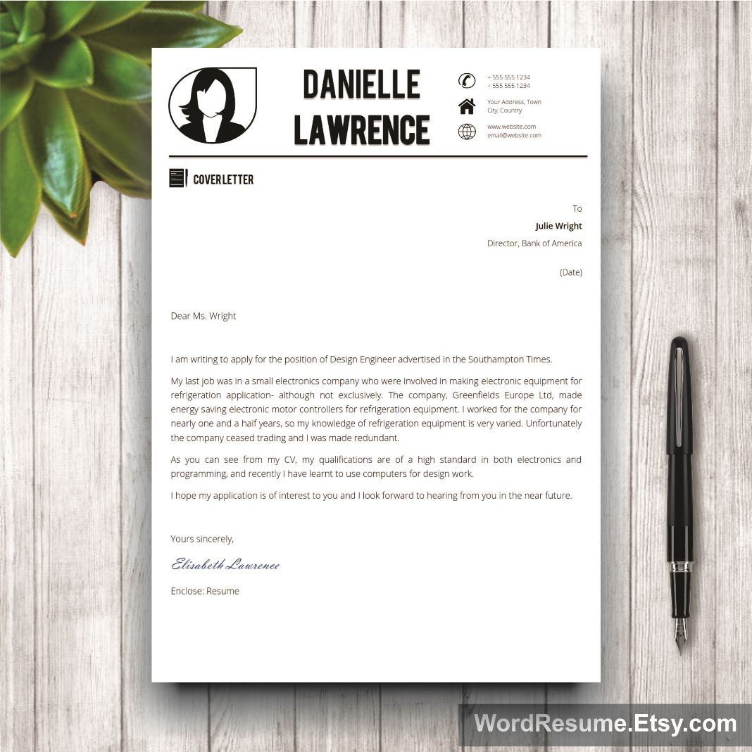 Modern Resume Template  Cover Letter Word  Danielle Lawrence