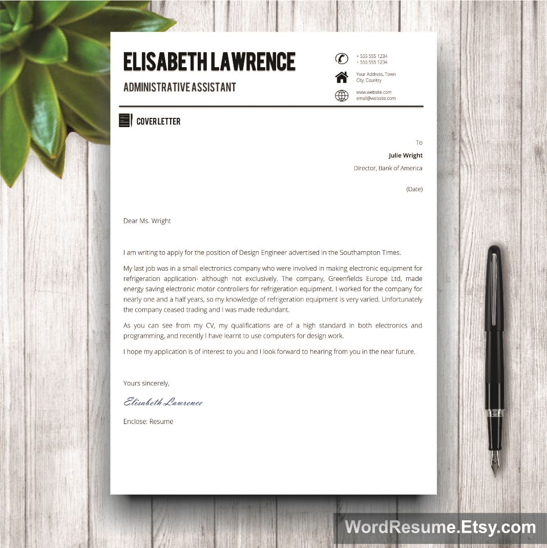 """Word Resume Template With Photo – """"Elisabeth Lawrence"""""""