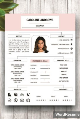 "Resume Template + Cover Letter and Portfolio for MS Word – ""Caroline Andrews"""
