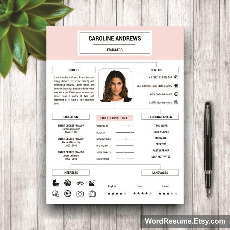 Awesome Resume Template + Cover Letter And Portfolio For MS Word U2013 U201cCaroline  Andrewsu201d