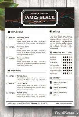 "Unisex Resume Template and Cover Letter + Portfolio – ""James Black"""