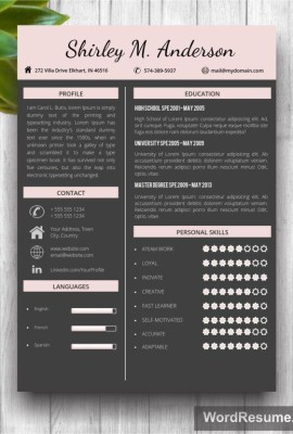 "Dark Resume Template + Cover Letter – ""Shirley M. Anderson"""
