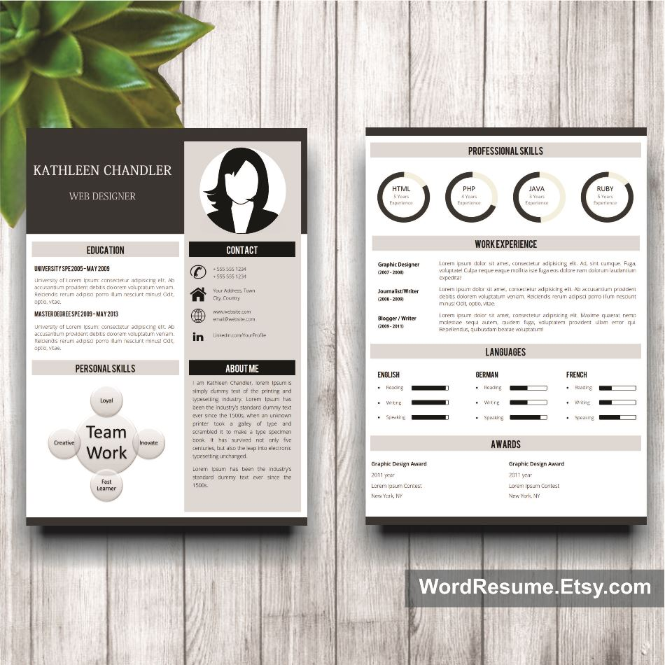 Clean Resume Template With Photo + Cover Letter + References ...