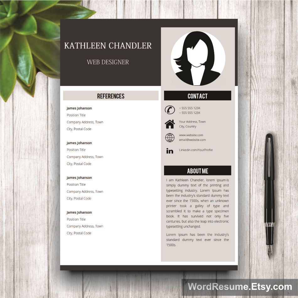 Clean Resume Template With Photo  Cover Letter  References