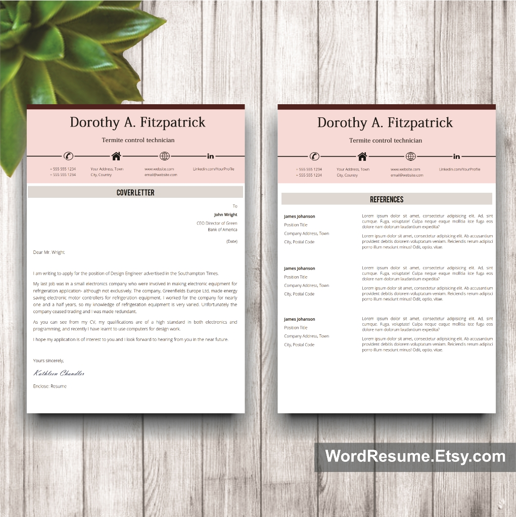 Creative Cv Template With Cover Letter And References Word Template