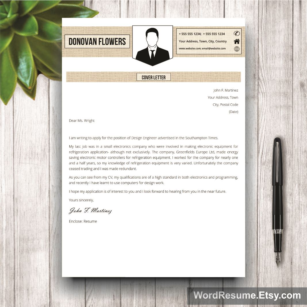 Resume Template  Cover Letter  Donovan Flowers  Creative Resume