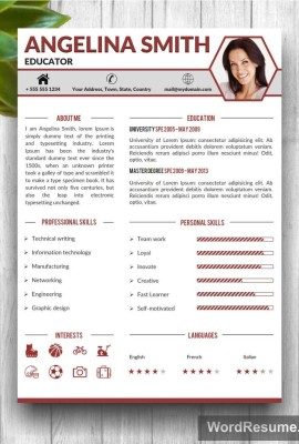 "Professional 2 page Resume Template + Cover Letter + Portfolio ""Angelina Smith"""