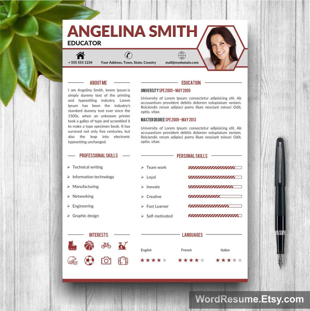 professional resume template in ms word angelina smith creative resume templates. Black Bedroom Furniture Sets. Home Design Ideas