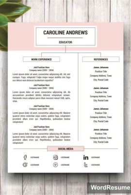 stylish resume template for ms word caroline andrews creative