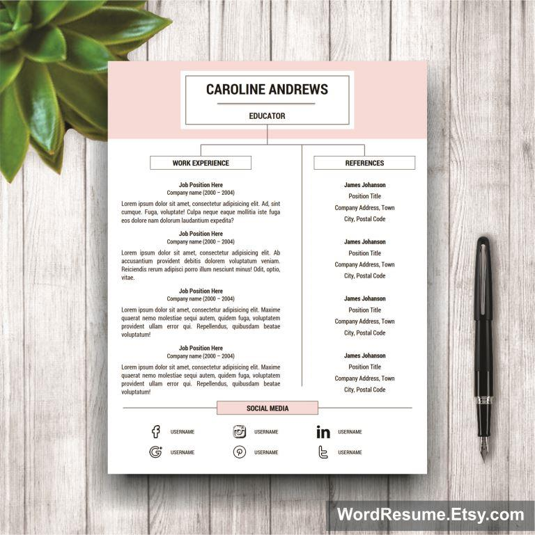 Resume Template  Cover Letter And Portfolio For Ms Word  Caroline