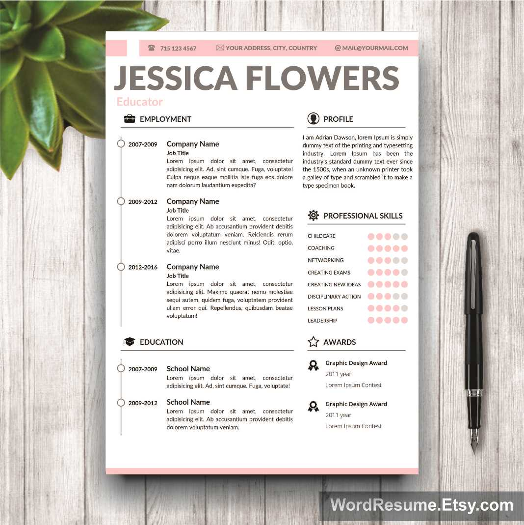 Resume template for ms word jessica flowers creative for Teaching portfolio template free
