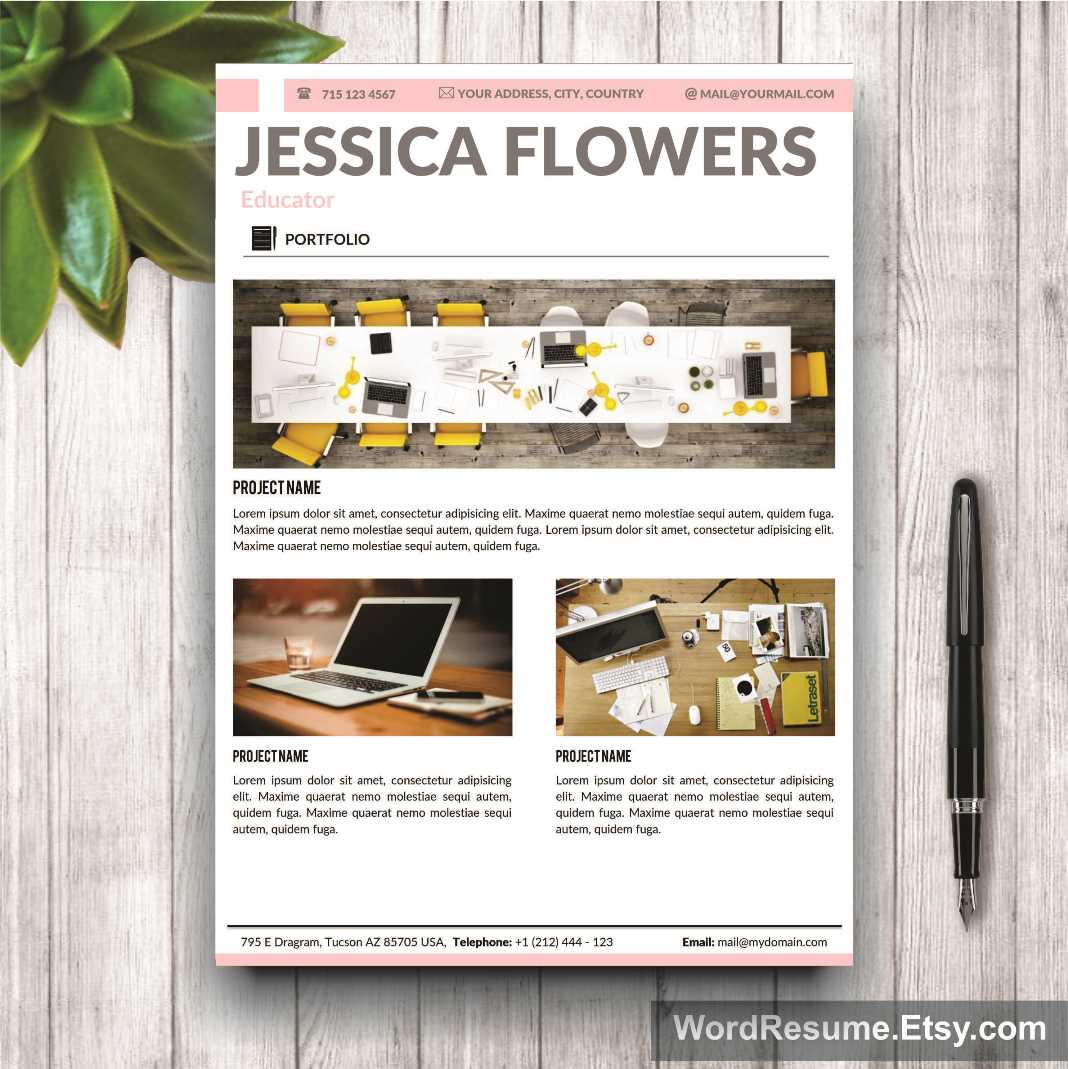Resume Template Cover Letter and Portfolio for MS Word – Portfolio Word Template