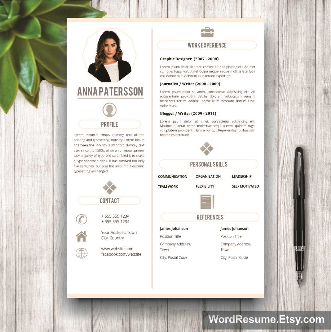 4 pages Resume Template Instant Digital Download - \