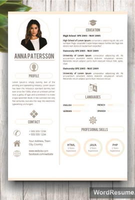 "4 pages Resume Template Instant Digital Download – ""Anna Patterson"""