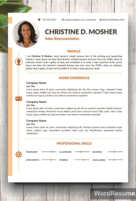 Resume Template 4 Pages | CV Template + Cover Letter And Portfolio U2013  U201cMosheru201d  Resume With Photo Template