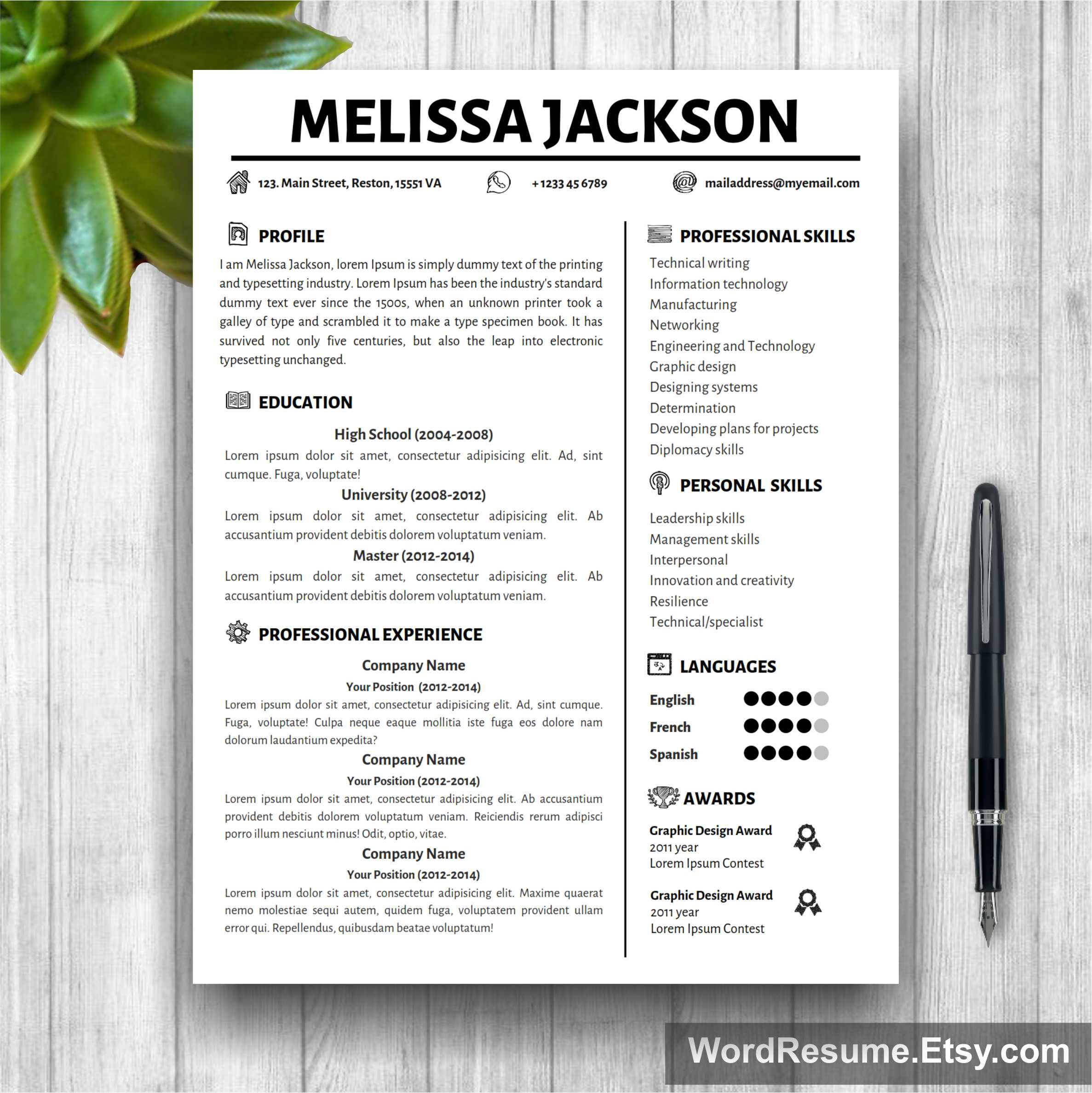 Creative Simple Resume Template  Melissa Jackson  Creative