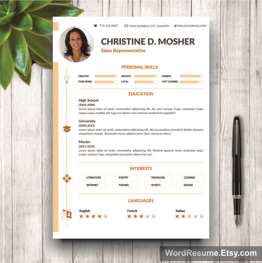 Resume Template 4 Pages | CV Template + Cover Letter And Portfolio U2013  U201cMosheru201d  Pages Resume Template