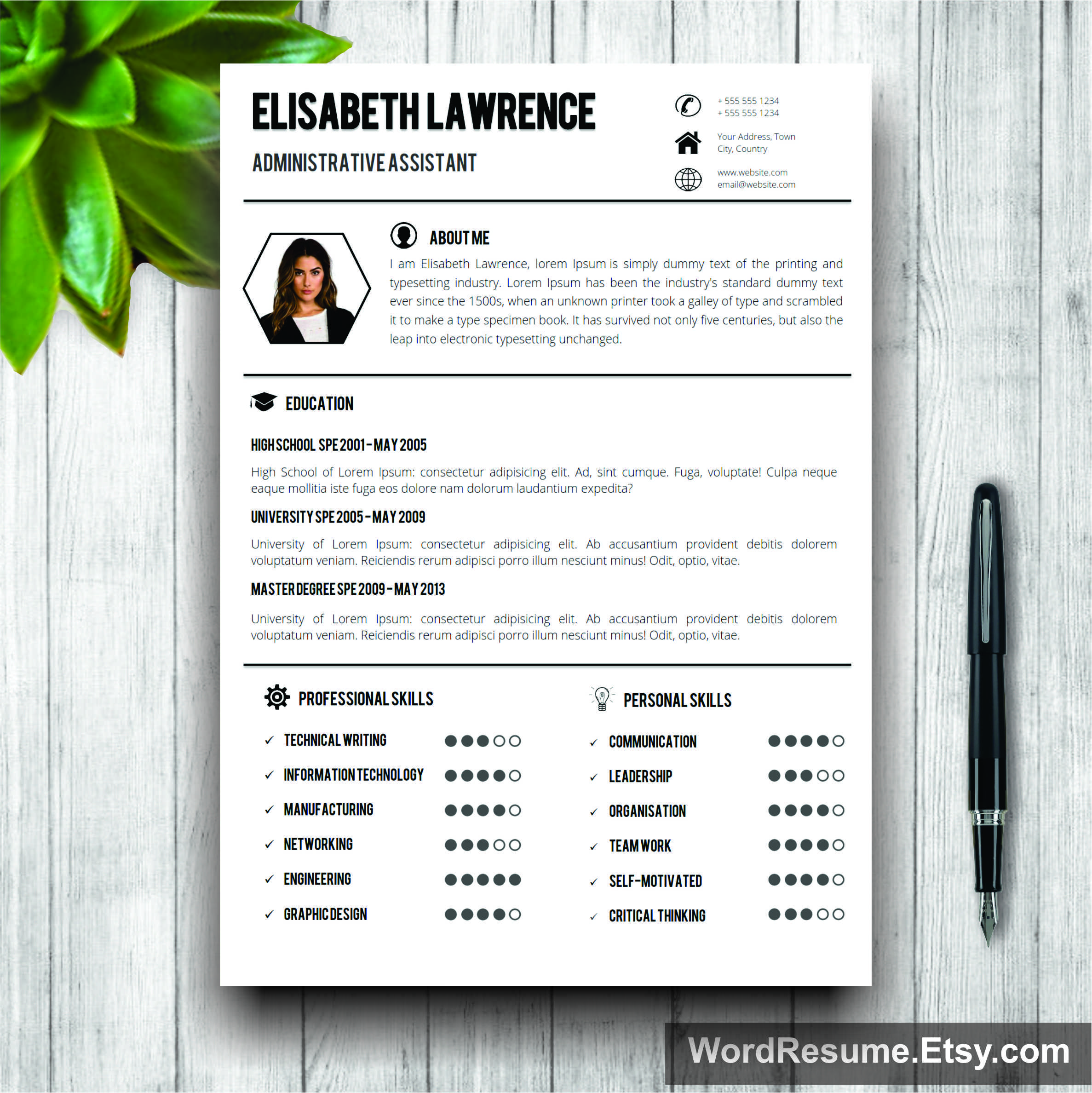 "Word Resume Template With Photo + Cover Letter – ""Elisabeth Lawrence"""