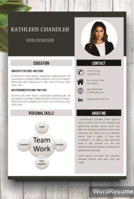 "Clean Resume Template With Photo + Cover Letter + References – ""Kathleen Chandler"""