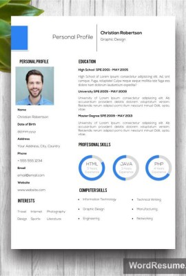 "8 page Exclusive Resume Template including Cover Letter, References and Portfolio – ""Christian Robertson"""