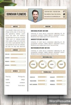 resume template cover letter donovan - Professional Cv Template