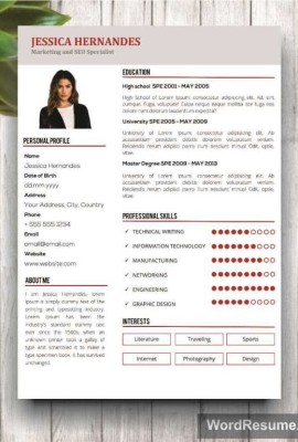 "Clean Resume Template + Cover Letter Word – ""Jessica Hernandes"""