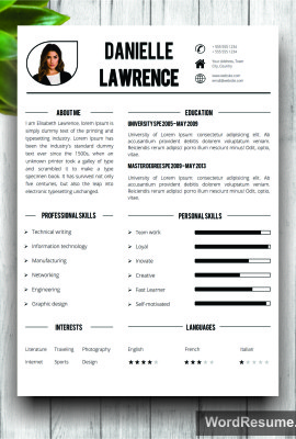 "Modern Resume Template + Cover Letter Word – ""Danielle Lawrence"""