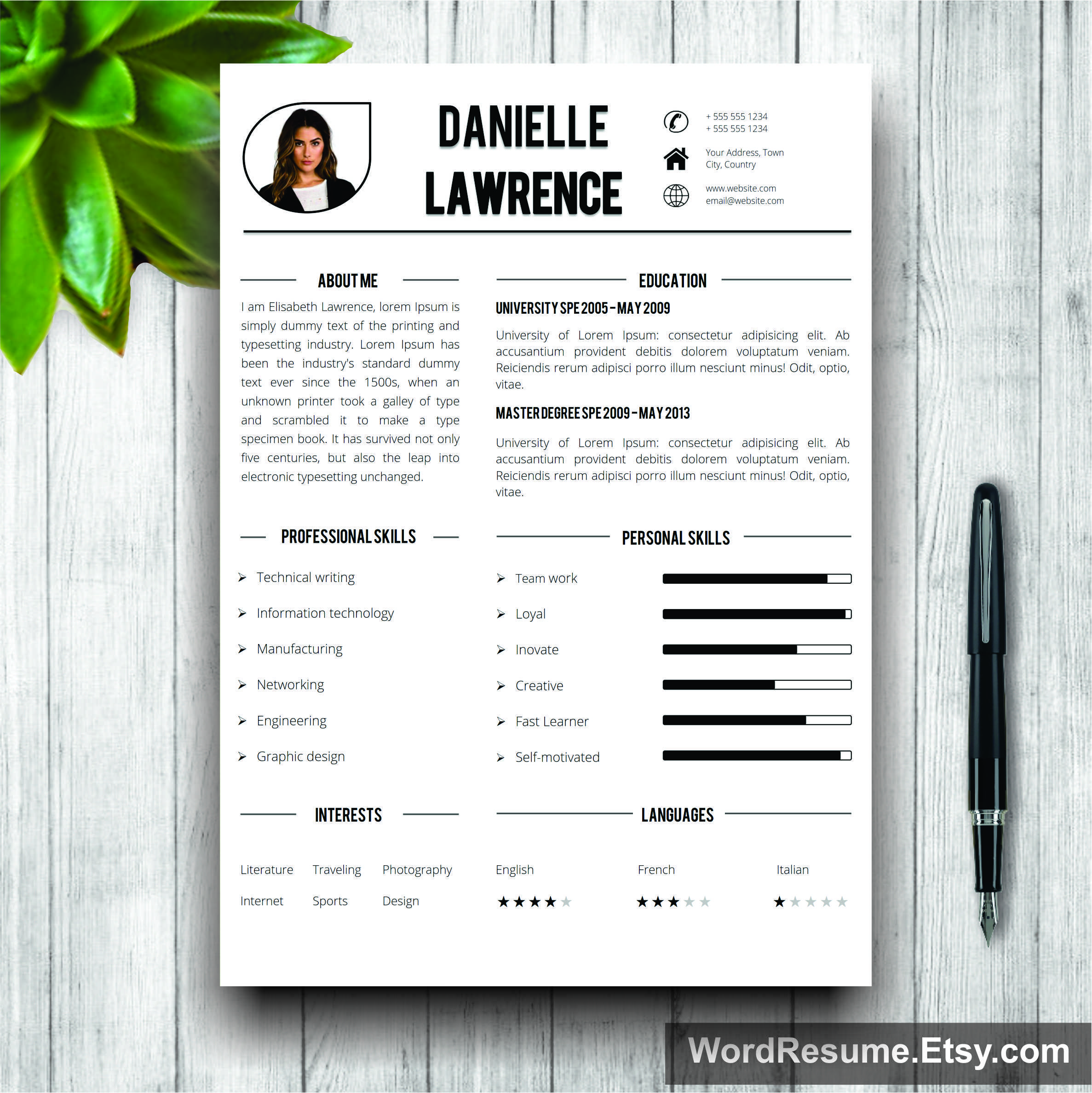resume template mockup 13 - Resume Cover Letter Word Template