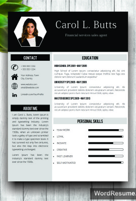 "Clean Resume Template With Photo + Cover Letter – ""Carol L. Butts"""