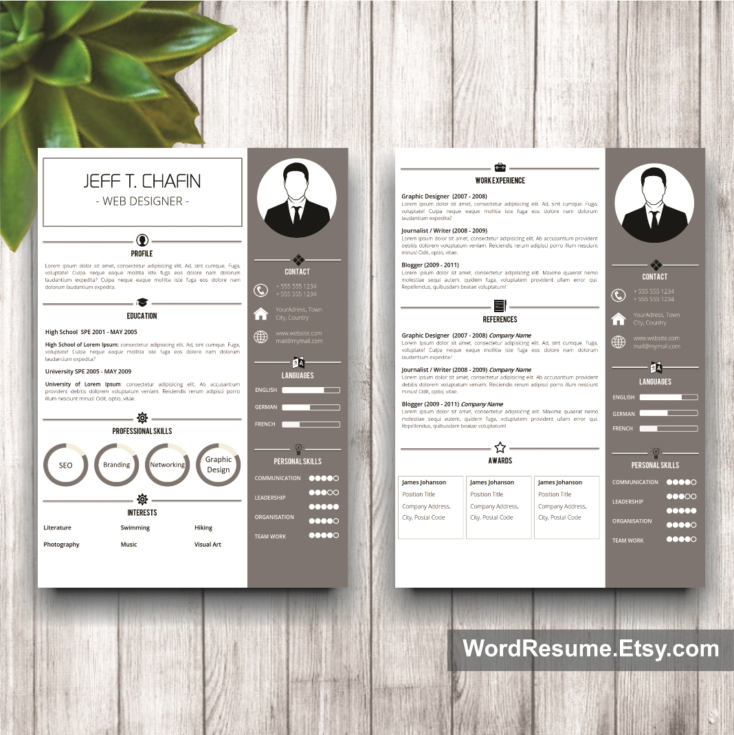 professional resume template design jeff t chafin resume template mockup 19 page 1 and page 2