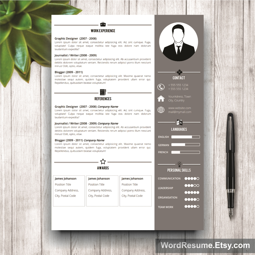 Looking For A Simple And Professional Resume Template With Photo? The Jeff  T. Chapin Design Is For You. The Creative CV Template Is Modern,  Professional, ...