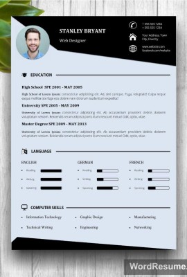 "Modern Resume Template With Photo + Cover Letter – ""Stanley Bryant"""