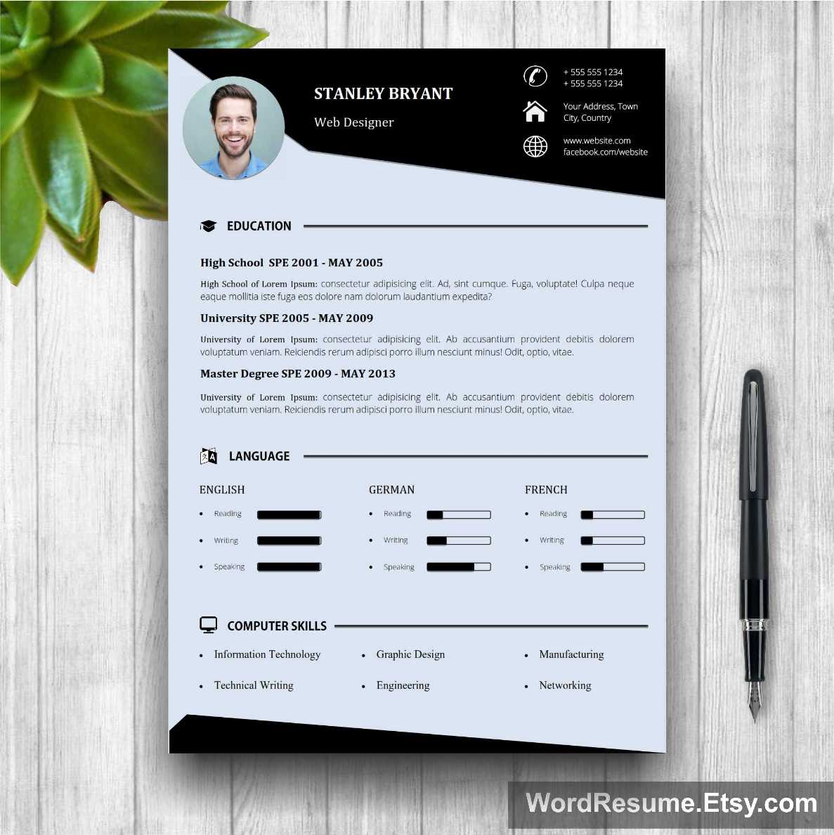Modern Resume Template With Photo + Cover Letter