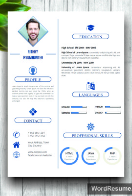 "Simple Resume Template WIth Photo + Cover Letter – ""Rithhy Ipsum Hunter"""