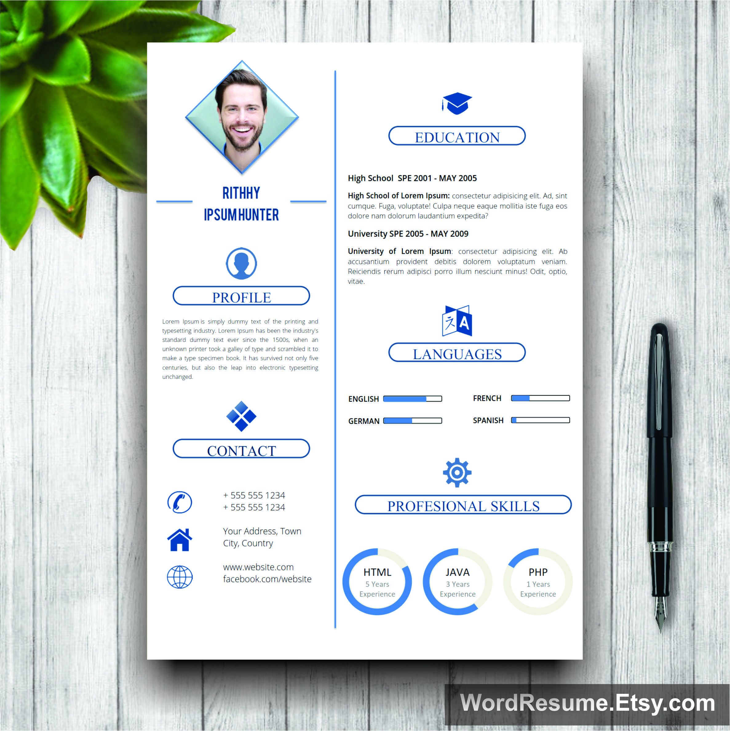 Simple Resume Template With Photo  Cover Letter  Rithhy Ipsum