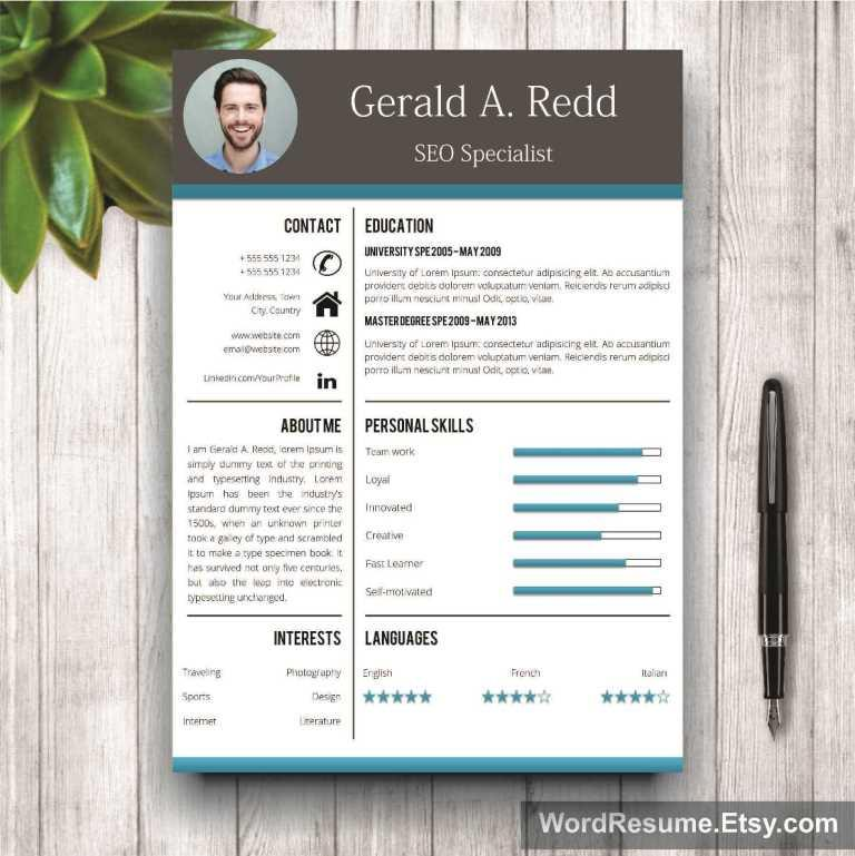 creative cv template cover letter word gerald a redd creative resume templates. Black Bedroom Furniture Sets. Home Design Ideas