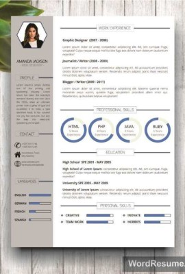 "Resume Template With Photo + Cover Letter – ""Amanda Jackson"""