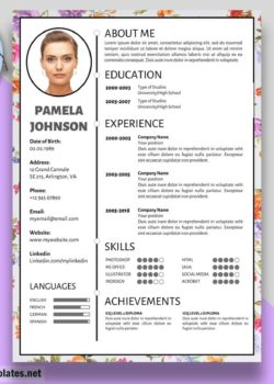 Floral Resume Template Pamela Johnson