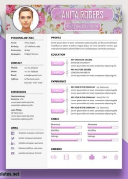 stylish cv template in word anita rogers creative resume templates