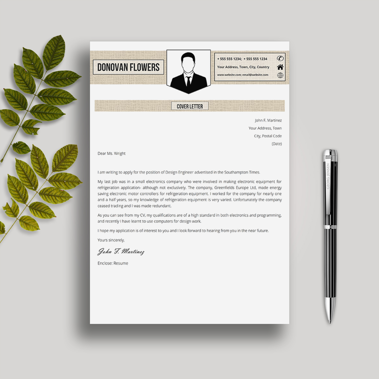 Resume Template And Cover Letter Donovan Flowers Creative